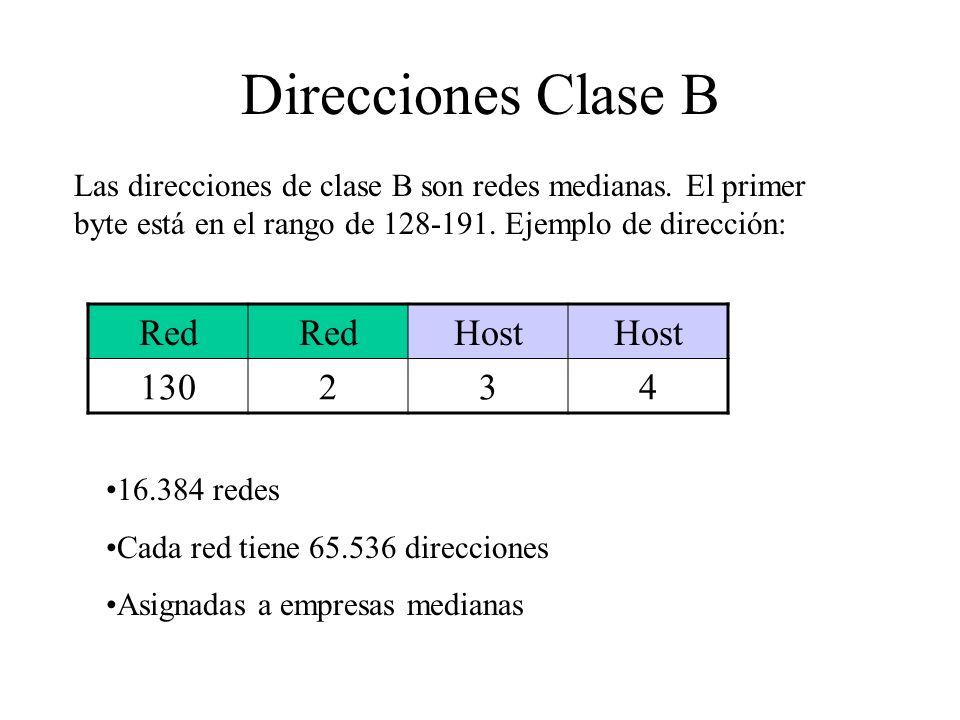 Direcciones Clase B Las direcciones de clase B son redes medianas. El primer byte está en el rango de 128-191. Ejemplo de dirección: Red Host 130234 1