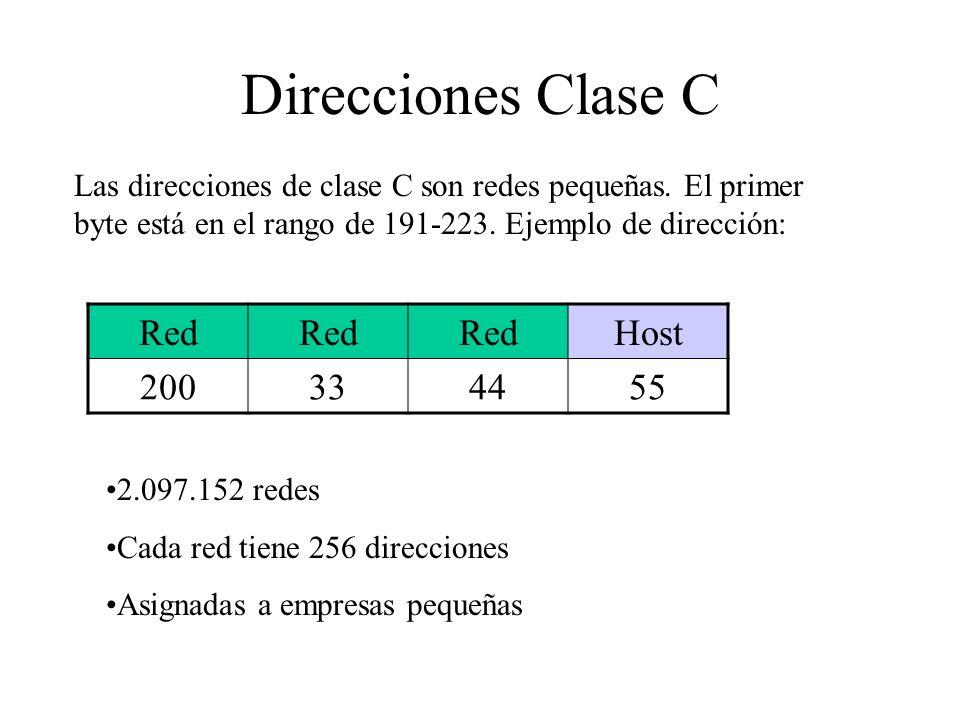 Direcciones Clase C Las direcciones de clase C son redes pequeñas. El primer byte está en el rango de 191-223. Ejemplo de dirección: Red Host 20033445