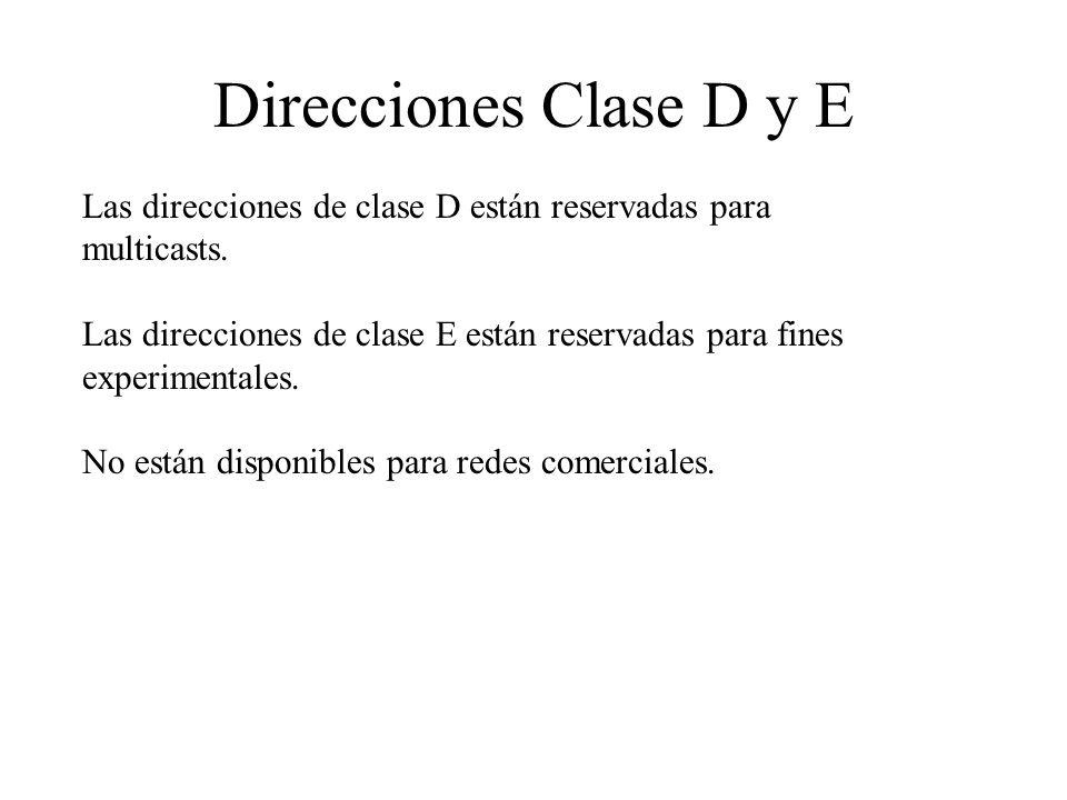 Direcciones Clase D y E Las direcciones de clase D están reservadas para multicasts. Las direcciones de clase E están reservadas para fines experiment