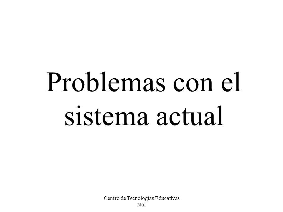 Centro de Tecnologías Educativas Núr Problemas con el sistema actual