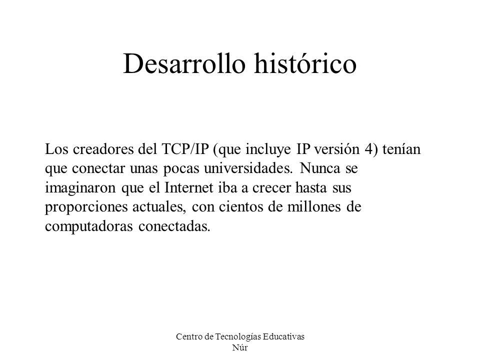 Centro de Tecnologías Educativas Núr Desarrollo histórico Los creadores del TCP/IP (que incluye IP versión 4) tenían que conectar unas pocas universid