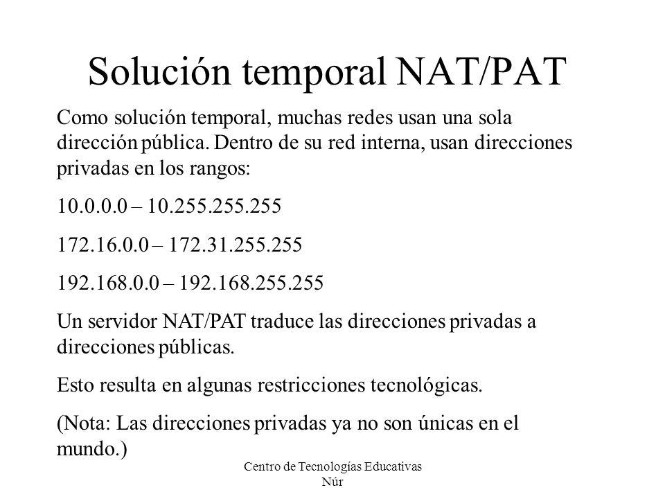 Centro de Tecnologías Educativas Núr Solución temporal NAT/PAT Como solución temporal, muchas redes usan una sola dirección pública. Dentro de su red