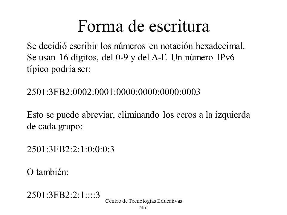Centro de Tecnologías Educativas Núr Forma de escritura Se decidió escribir los números en notación hexadecimal. Se usan 16 dígitos, del 0-9 y del A-F
