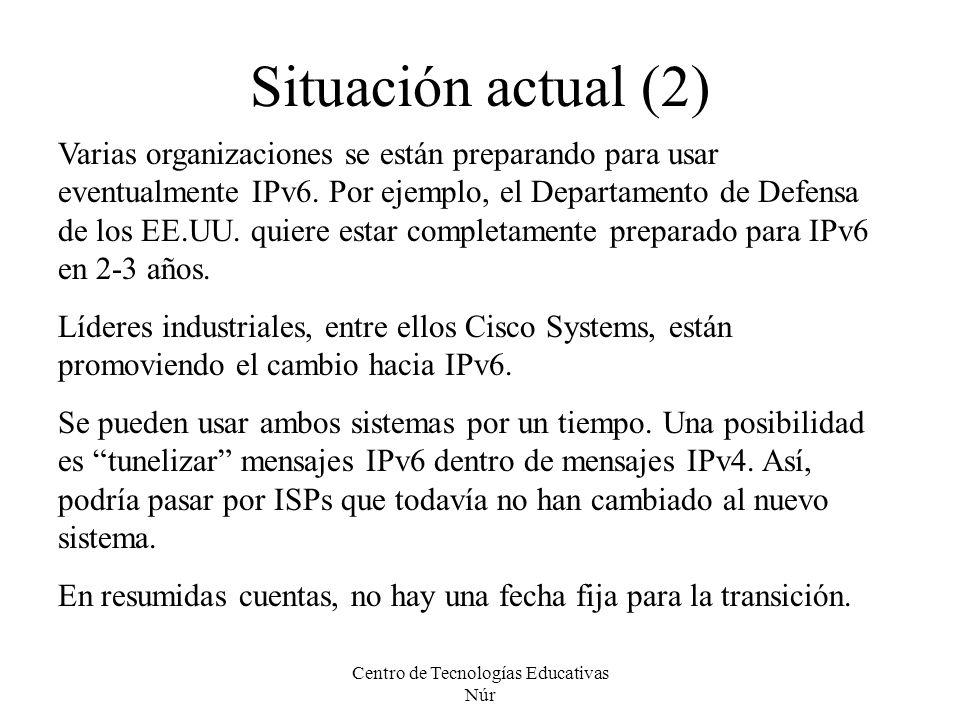 Centro de Tecnologías Educativas Núr Situación actual (2) Varias organizaciones se están preparando para usar eventualmente IPv6. Por ejemplo, el Depa