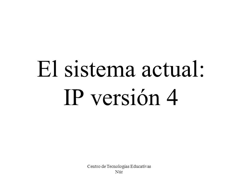 Centro de Tecnologías Educativas Núr El sistema actual: IP versión 4