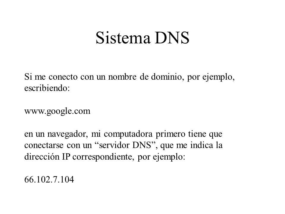 Sistema DNS Si me conecto con un nombre de dominio, por ejemplo, escribiendo: www.google.com en un navegador, mi computadora primero tiene que conecta