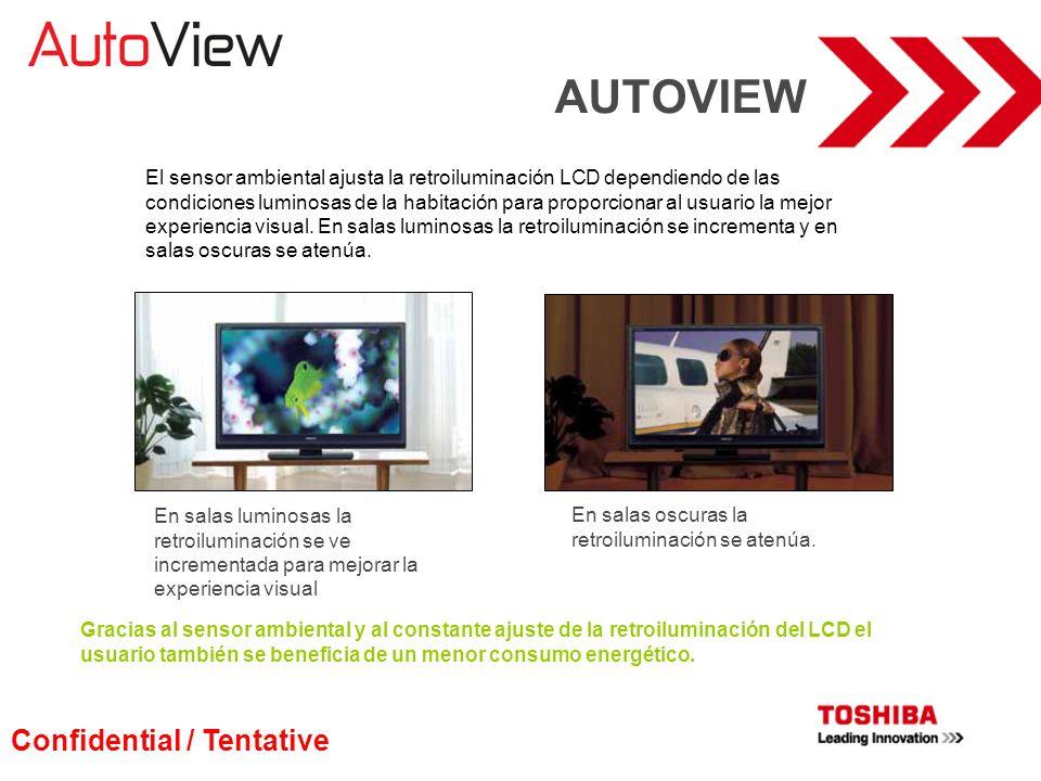 AUTOVIEW El sensor ambiental ajusta la retroiluminación LCD dependiendo de las condiciones luminosas de la habitación para proporcionar al usuario la