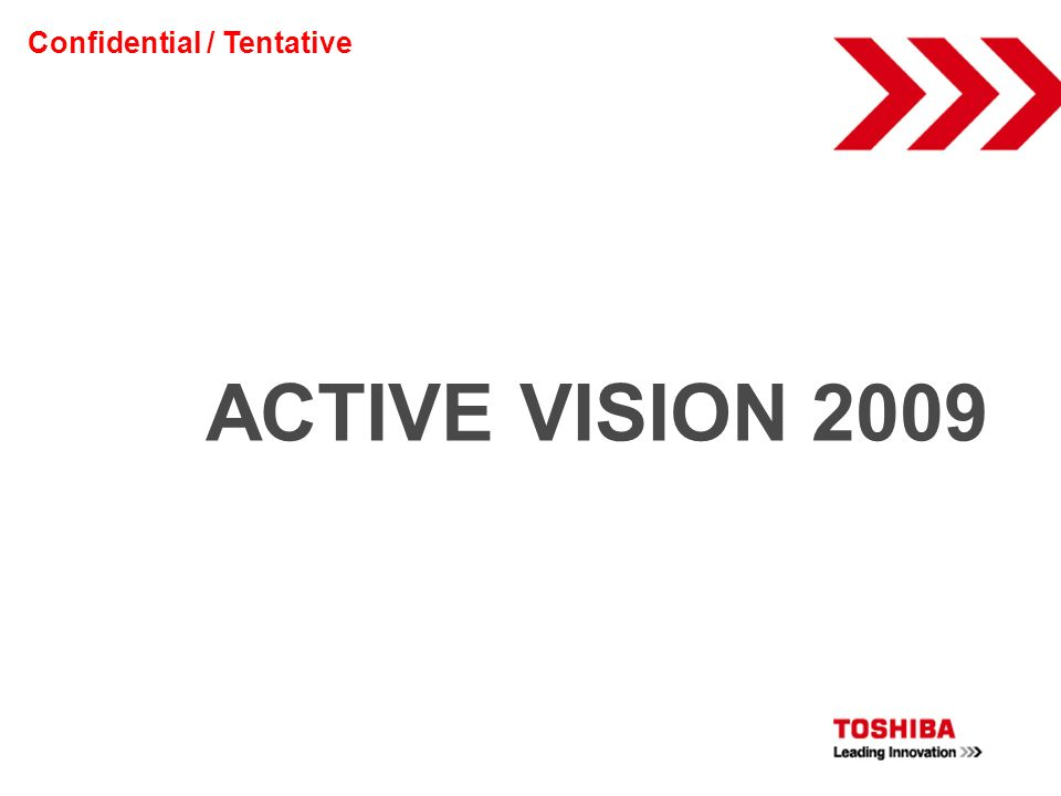ACTIVE VISION 2009 Confidential / Tentative