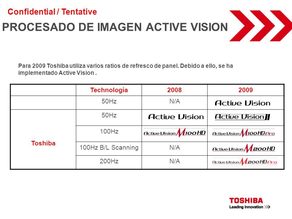 PROCESADO DE IMAGEN ACTIVE VISION Technología20082009 50HzN/A Toshiba 50Hz 100Hz 100Hz B/L ScanningN/A 200HzN/A Para 2009 Toshiba utiliza varios ratio