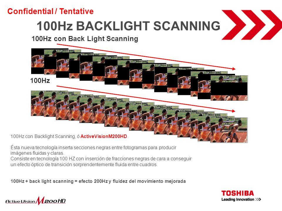 100Hz con Back Light Scanning 100Hz 100Hz con Backlight Scanning, ó ActiveVisionM200HD. Ésta nueva tecnología inserta secciones negras entre fotograma