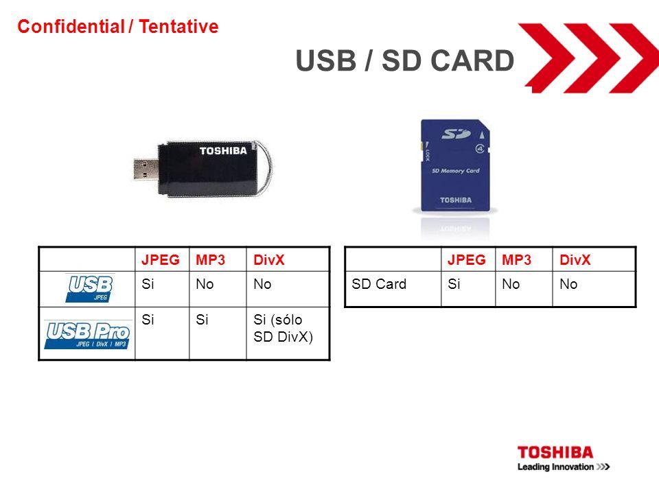 JPEGMP3DivX SiNo Si Si (sólo SD DivX) JPEGMP3DivX SD CardSiNo USB / SD CARD Confidential / Tentative