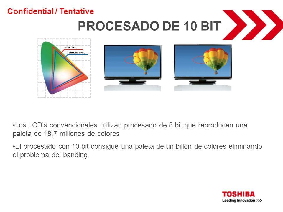 PROCESADO DE 10 BIT Los LCDs convencionales utilizan procesado de 8 bit que reproducen una paleta de 18,7 millones de colores El procesado con 10 bit