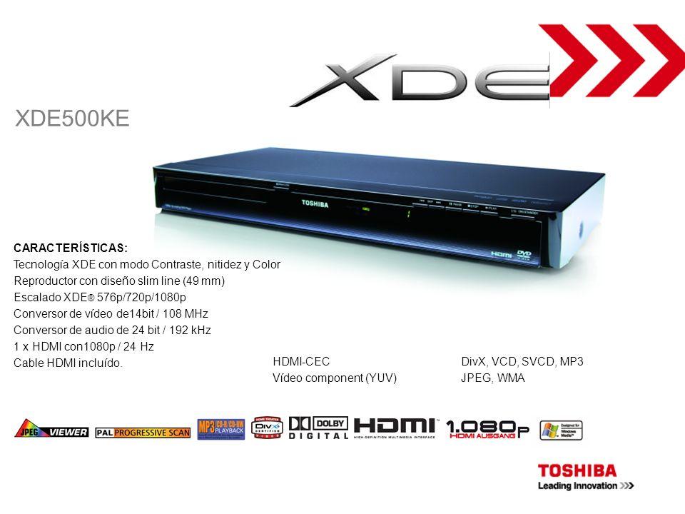DVD-PLAYER CARACTERÍSTICAS: Tecnología XDE con modo Contraste, nitidez y Color Reproductor con diseño slim line (49 mm) Escalado XDE ® 576p/720p/1080p
