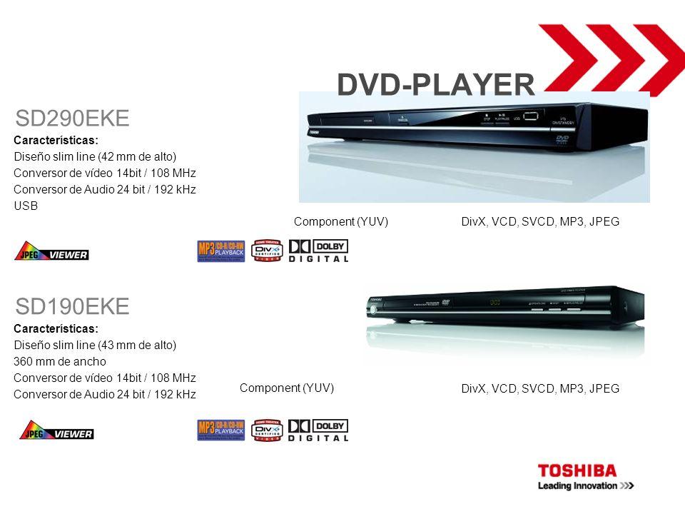 DVD-PLAYER Características: Diseño slim line (43 mm de alto) 360 mm de ancho Conversor de vídeo 14bit / 108 MHz Conversor de Audio 24 bit / 192 kHz SD