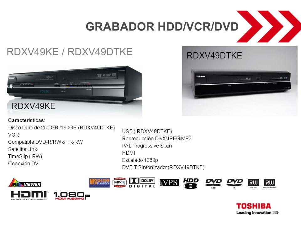 GRABADOR HDD/VCR/DVD Características: Disco Duro de 250 GB /160GB (RDXV49DTKE) VCR Compatible DVD-R/RW & +R/RW Satellite Link TimeSlip (-RW) Conexión