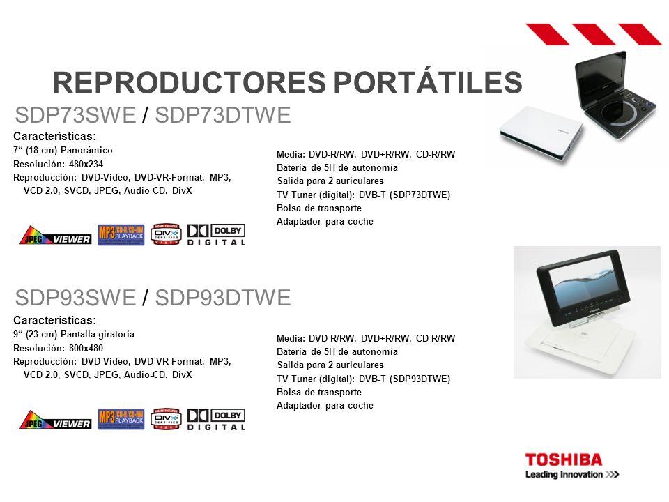 REPRODUCTORES PORTÁTILES Características: 7 (18 cm) Panorámico Resolución: 480x234 Reproducción: DVD-Video, DVD-VR-Format, MP3, VCD 2.0, SVCD, JPEG, A