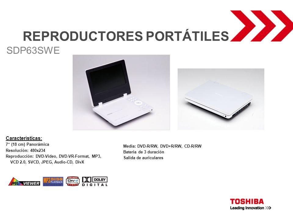 REPRODUCTORES PORTÁTILES Características: 7 (18 cm) Panorámica Resolución: 480x234 Reproducción: DVD-Video, DVD-VR-Format, MP3, VCD 2.0, SVCD, JPEG, A