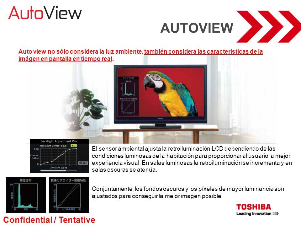 AUTOVIEW Auto view no sólo considera la luz ambiente, también considera las características de la imágen en pantalla en tiempo real. El sensor ambient