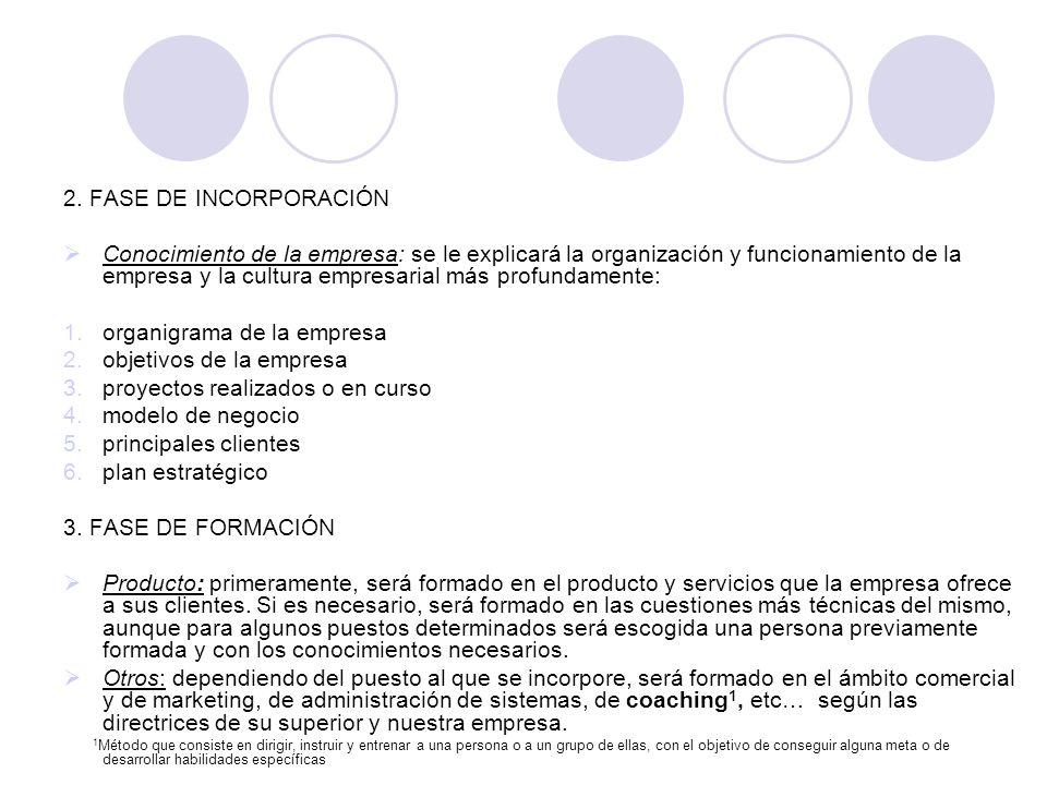 2. FASE DE INCORPORACIÓN Conocimiento de la empresa: se le explicará la organización y funcionamiento de la empresa y la cultura empresarial más profu