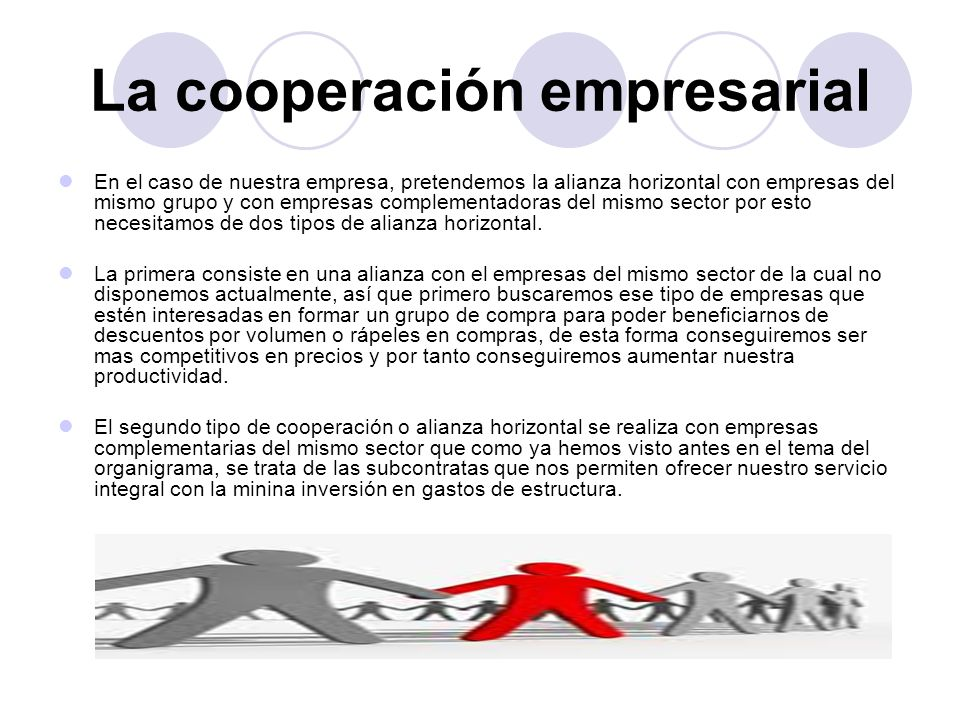 La cooperación empresarial En el caso de nuestra empresa, pretendemos la alianza horizontal con empresas del mismo grupo y con empresas complementador