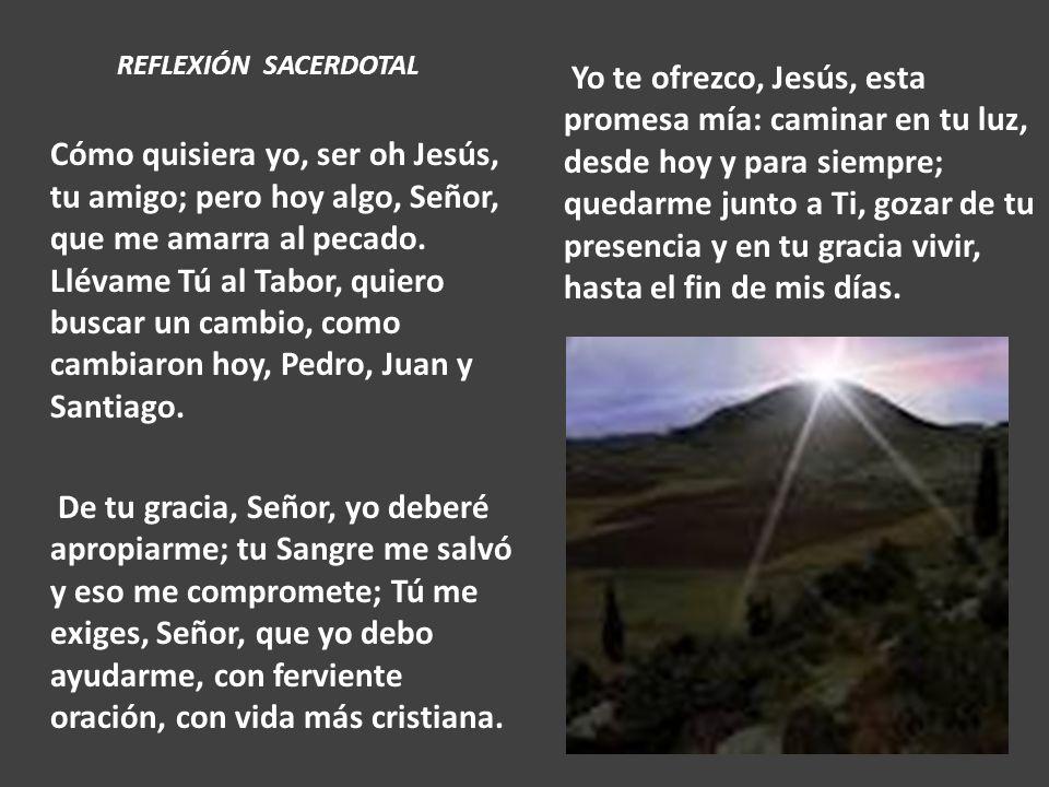 REFLEXIÓN SACERDOTAL Cómo quisiera yo, ser oh Jesús, tu amigo; pero hoy algo, Señor, que me amarra al pecado. Llévame Tú al Tabor, quiero buscar un ca