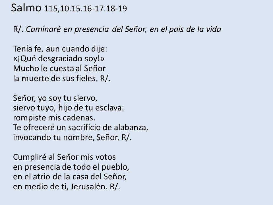 Salmo 115,10.15.16-17.18-19 R/. Caminaré en presencia del Señor, en el país de la vida Tenía fe, aun cuando dije: «¡Qué desgraciado soy!» Mucho le cue