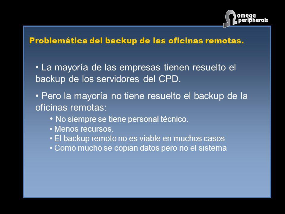 Problemática del backup de las oficinas remotas. La mayoría de las empresas tienen resuelto el backup de los servidores del CPD. Pero la mayoría no ti