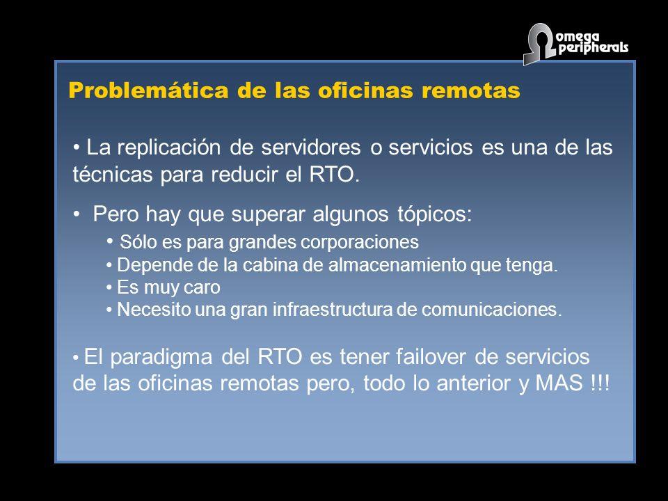 Problemática de las oficinas remotas La replicación de servidores o servicios es una de las técnicas para reducir el RTO. Pero hay que superar algunos