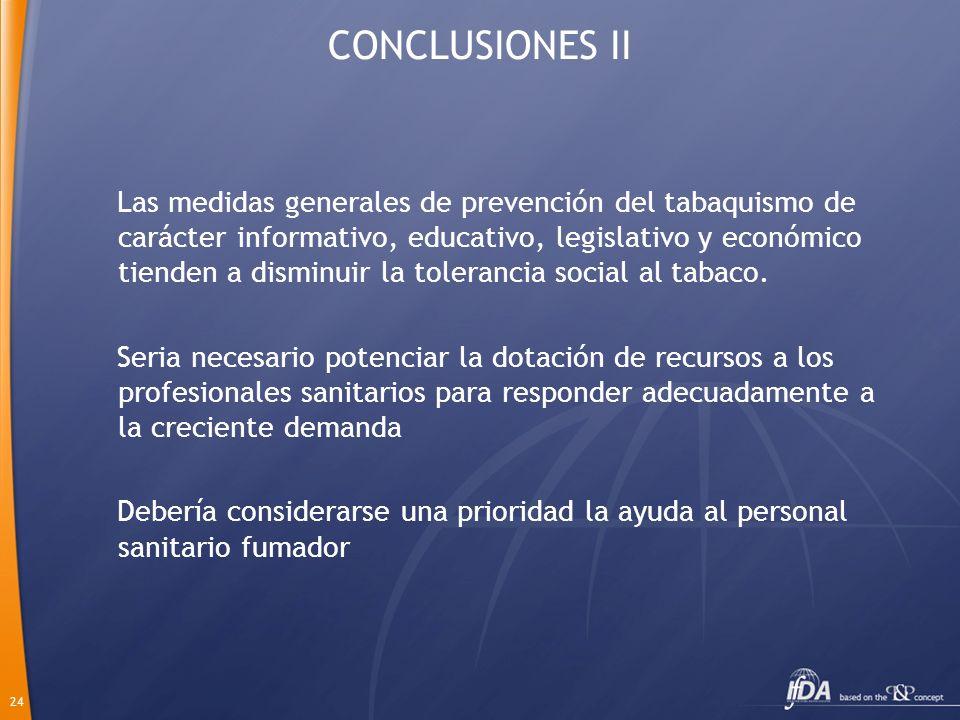 24 CONCLUSIONES II Las medidas generales de prevención del tabaquismo de carácter informativo, educativo, legislativo y económico tienden a disminuir