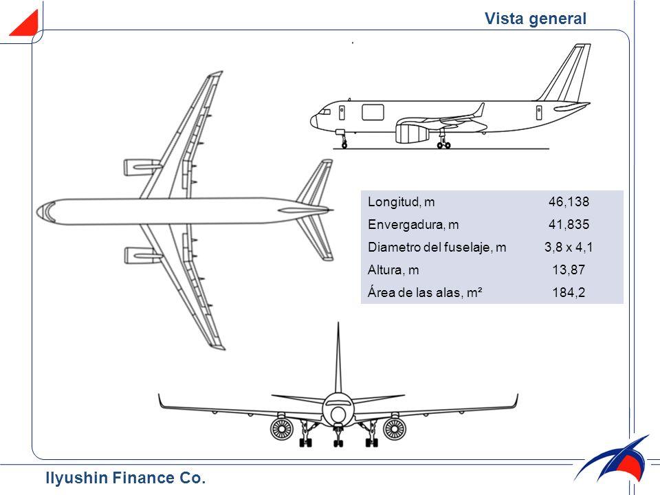 Pesos de operación & Capacidad de combustible Peso máximo de rodaje, t105,35 Peso máximo de despegue, t105 Carga útil máxima, t27 Peso máximo de aterrizaje, t88 Peso máximo sin combustible, t83.4 Capacidad máxima de combustible, t35,71 Perfomance de la aeronave (ISA) Velocidad de crucero, km/h850 Altitud máxima de operación, m12 000 Alcance con carga útil máxima, km3250 Alcance máximo, km7380 Tripulación, personas3 Vida útil Célula, horas de vuelo45 000 años20 vuelos25 000 Condiciones de operación Elevación del aeropuerto (con relación al nivel del mar), m-300 – 2850 Distancia de despegue, m2050 Distancia de aterrizaje, m2120 Temperatura de operación, ˚С-45…+45 Características técnicas Ilyushin Finance Co.