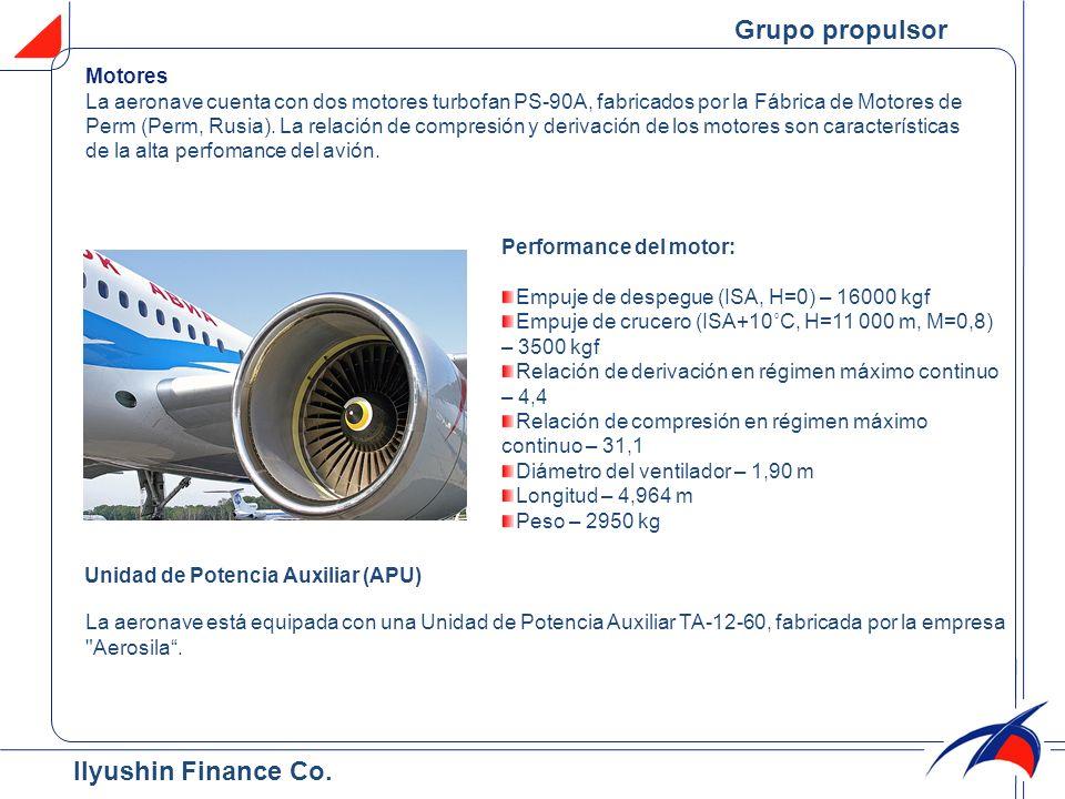 Motores La aeronave cuenta con dos motores turbofan PS-90A, fabricados por la Fábrica de Motores de Perm (Perm, Rusia). La relación de compresión y de