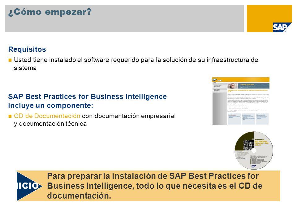 SAP Best Practices for Business Intelligence: Instalación Seleccione los escenarios que desea instalar La documentación proporcionada con SAP Best Practices le permite tomar esta decisión con un óptimo conocimiento de las opciones disponibles Resumen del escenario 1.