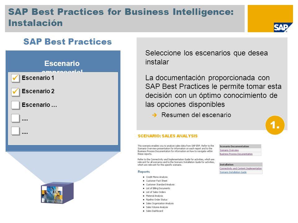 SAP Best Practices for Business Intelligence: Instalación II La Guía de instalación de escenarios le muestra cuáles son los pasos necesarios para instalar un escenario específico.