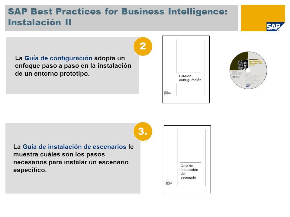 SAP Best Practices for Business Intelligence: Instalación II La Guía de instalación de escenarios le muestra cuáles son los pasos necesarios para inst