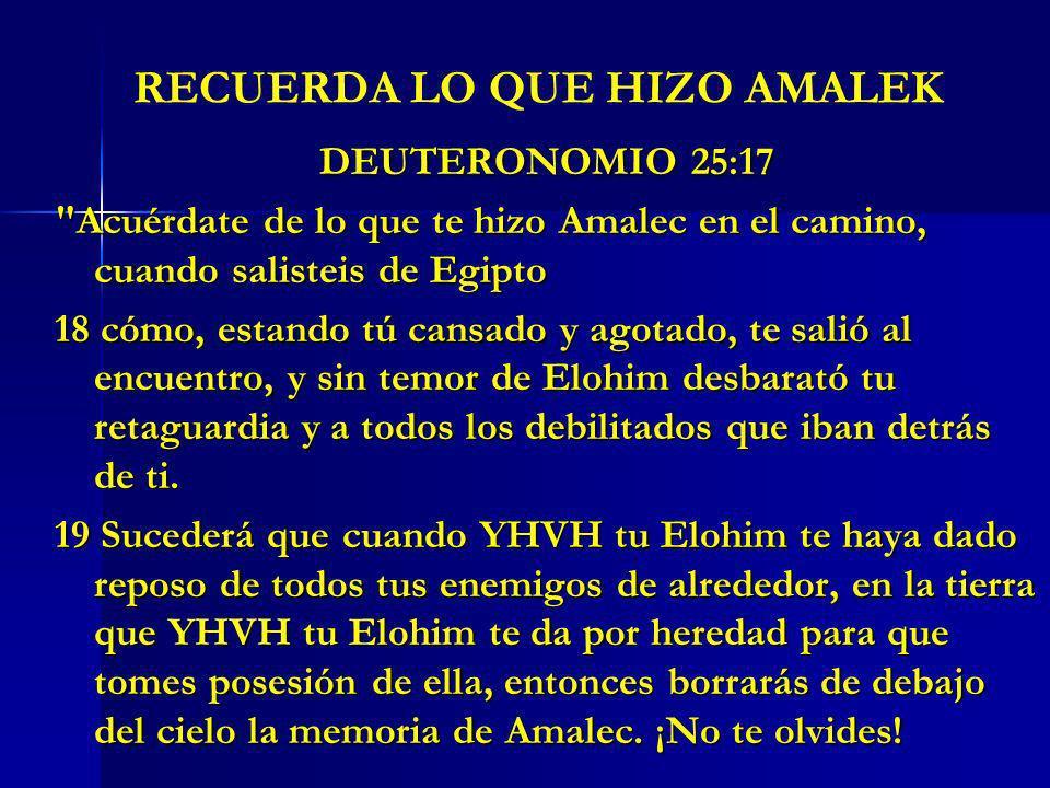 RECUERDA LO QUE HIZO AMALEK DEUTERONOMIO 25:17