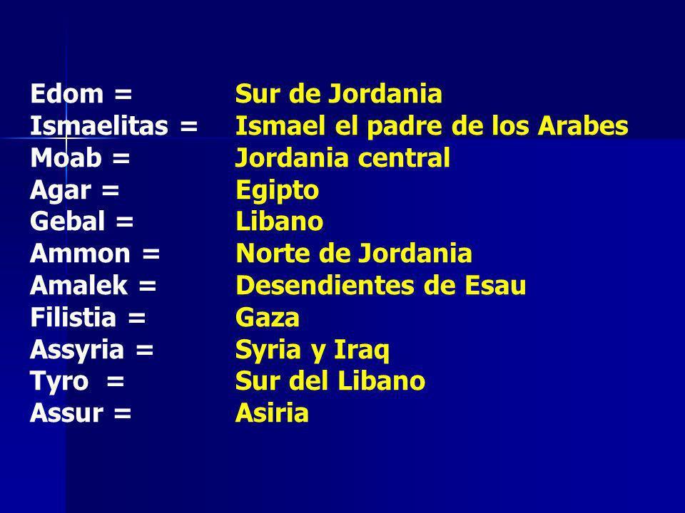 Edom = Sur de Jordania Ismaelitas = Ismael el padre de los Arabes Moab = Jordania central Agar = Egipto Gebal = Libano Ammon = Norte de Jordania Amale