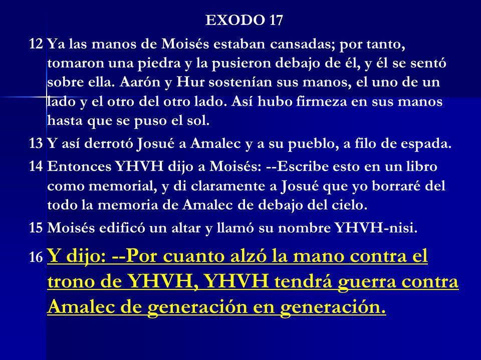 EXODO 17 12 Ya las manos de Moisés estaban cansadas; por tanto, tomaron una piedra y la pusieron debajo de él, y él se sentó sobre ella. Aarón y Hur s