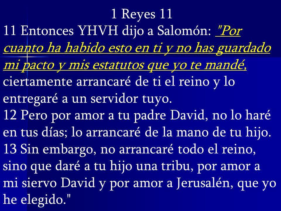 1 Reyes 11 11 Entonces YHVH dijo a Salomón: