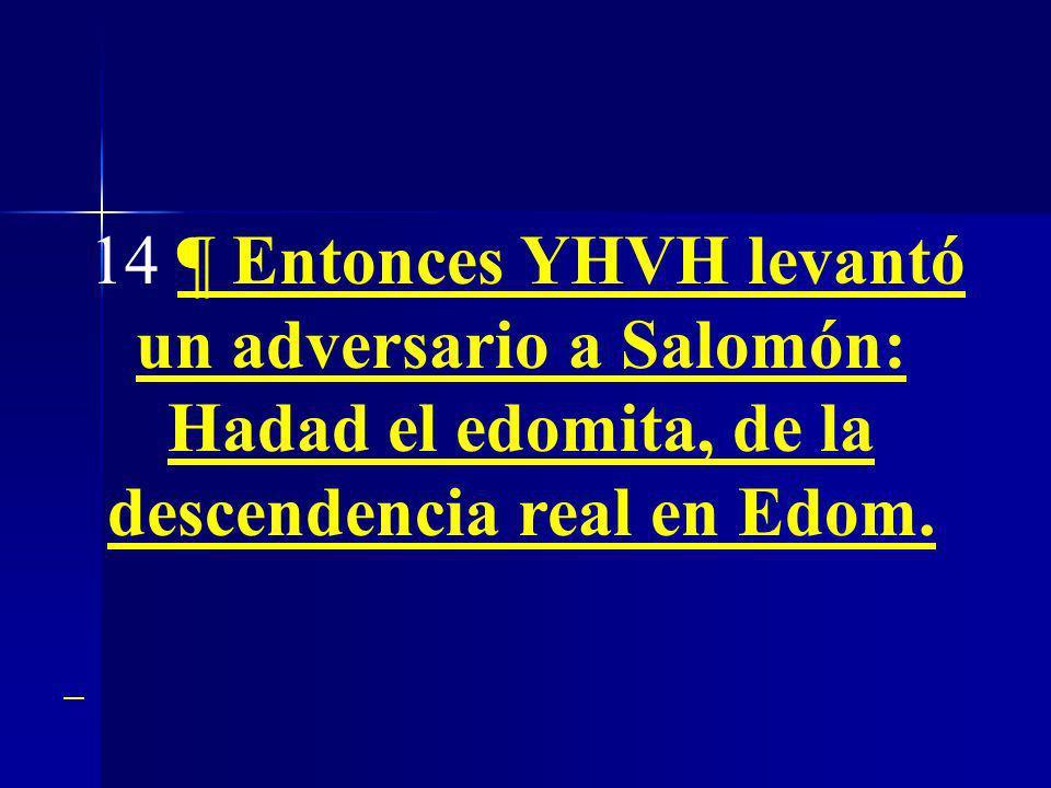 14 ¶ Entonces YHVH levantó un adversario a Salomón: Hadad el edomita, de la descendencia real en Edom.