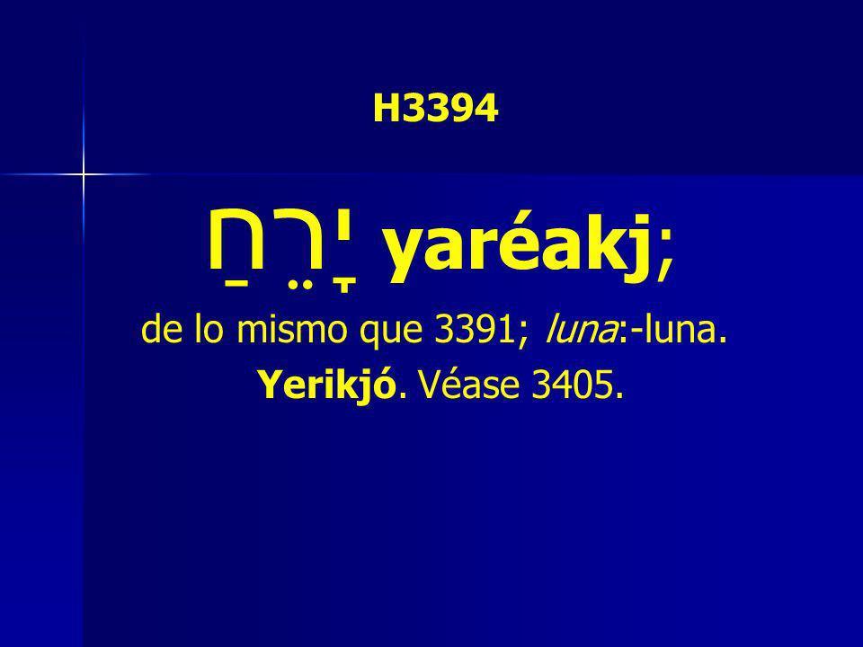 H3394 יָרֵחַ yaréakj; de lo mismo que 3391; luna:-luna. Yerikjó. Véase 3405.