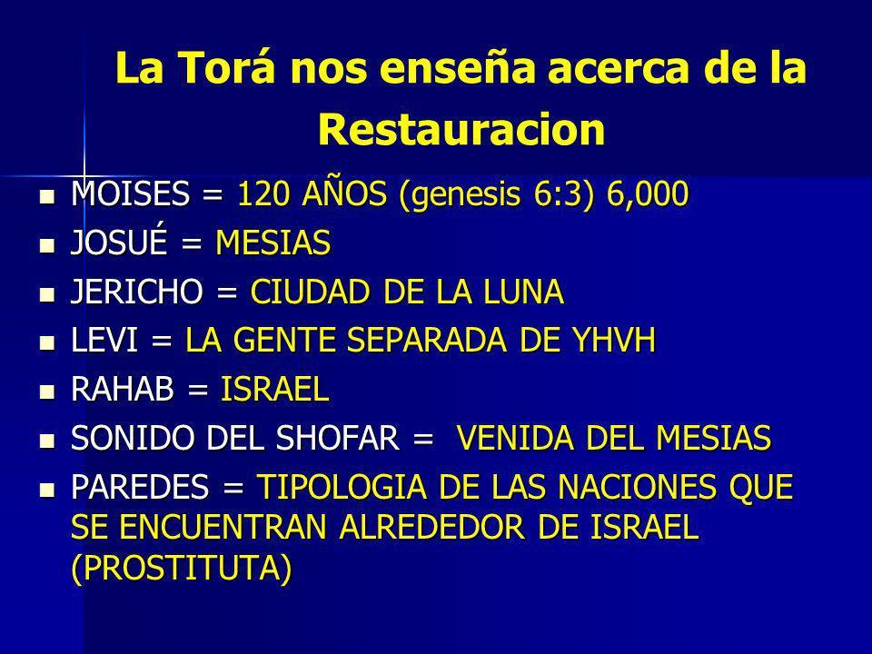 La Torá nos enseña acerca de la Restauracion MOISES = 120 AÑOS (genesis 6:3) 6,000 MOISES = 120 AÑOS (genesis 6:3) 6,000 JOSUÉ = MESIAS JOSUÉ = MESIAS