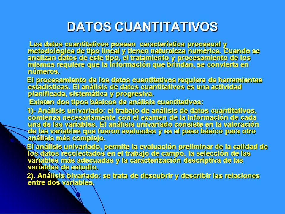 DATOS CUANTITATIVOS Los datos cuantitativos poseen característica procesual y metodológica de tipo lineal y tienen naturaleza numérica. Cuando se anal