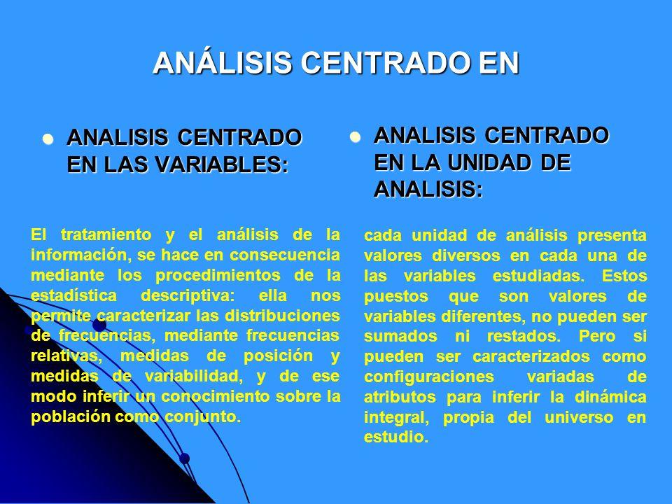 análisis centrado en el valor, su tarea consiste en: análisis centrado en el valor, su tarea consiste en: a)- idear criterios para clasificar información cualitativa o exploratoria.