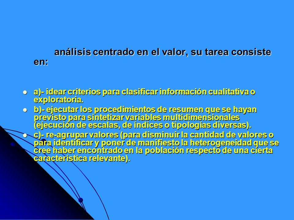 análisis centrado en el valor, su tarea consiste en: análisis centrado en el valor, su tarea consiste en: a)- idear criterios para clasificar informac