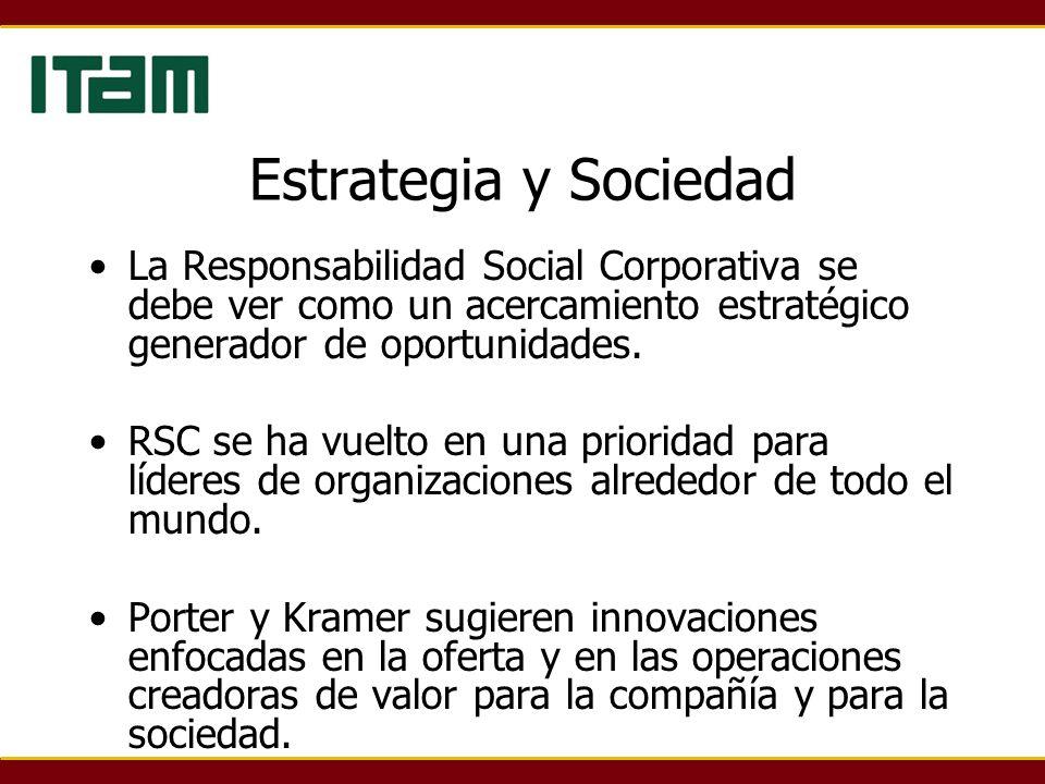 Estrategia y Sociedad La Responsabilidad Social Corporativa se debe ver como un acercamiento estratégico generador de oportunidades. RSC se ha vuelto