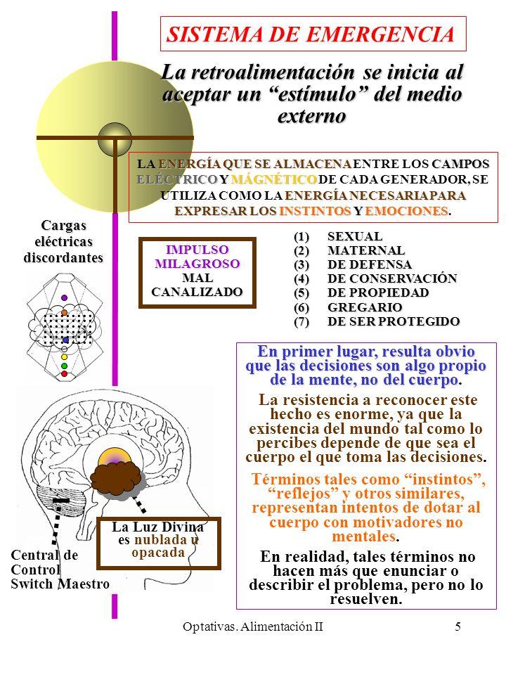 Optativas. Alimentación II5 La Luz Divina es nublada u opacada Central de Control Switch Maestro Cargas eléctricas discordantes.......................
