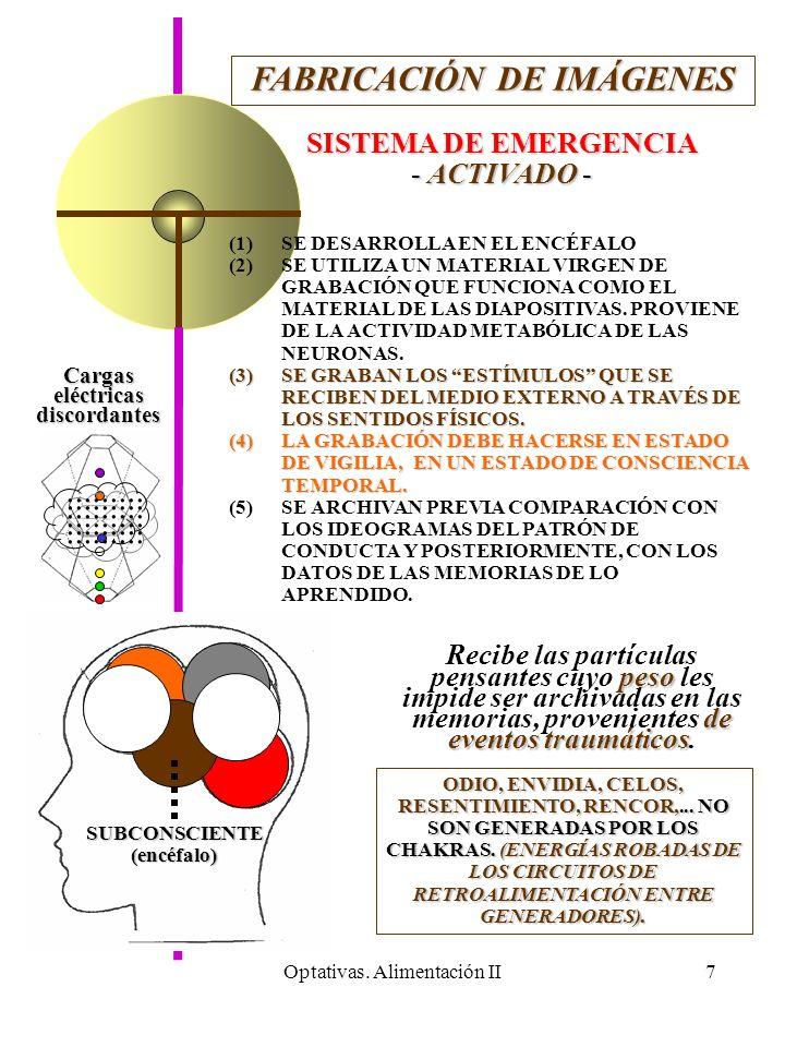 Optativas. Alimentación II7 FABRICACIÓN DE IMÁGENES SISTEMA DE EMERGENCIA - ACTIVADO - (1) (1)SE DESARROLLA EN EL ENCÉFALO (2) (2)SE UTILIZA UN MATERI