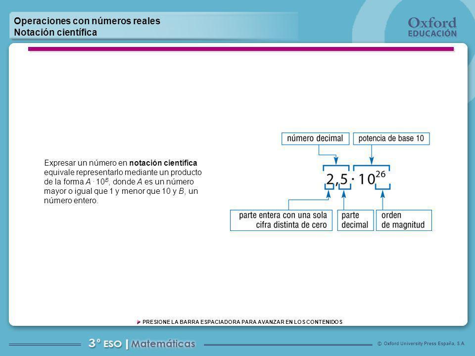 Oxford University Press España, S.A. © PRESIONE LA BARRA ESPACIADORA PARA AVANZAR EN LOS CONTENIDOS Operaciones con números reales Notación científica