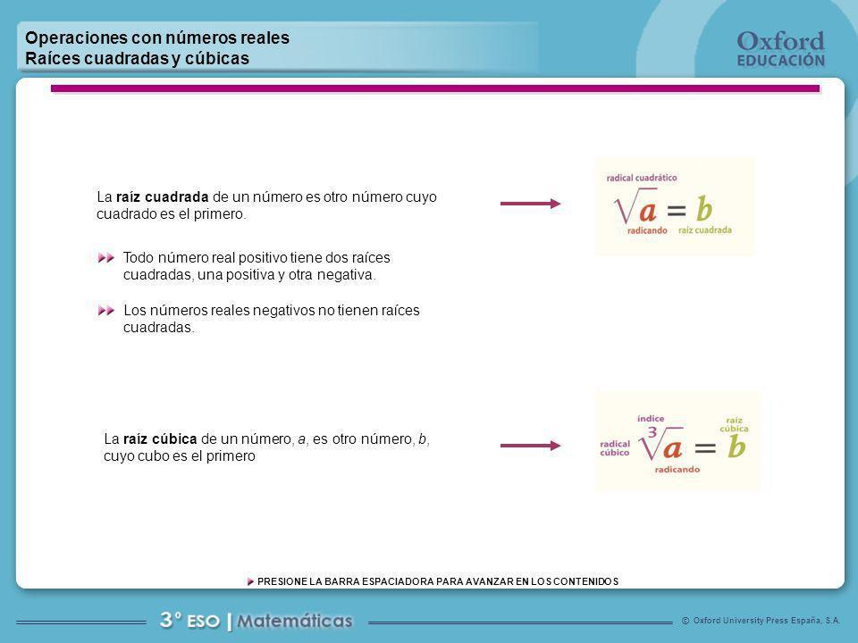 Oxford University Press España, S.A. © PRESIONE LA BARRA ESPACIADORA PARA AVANZAR EN LOS CONTENIDOS Operaciones con números reales Raíces cuadradas y