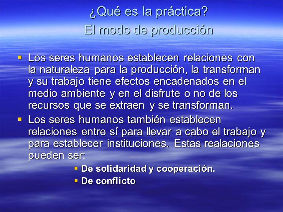 ¿Qué es la práctica? El modo de producción Los seres humanos establecen relaciones con la naturaleza para la producción, la transforman y su trabajo t